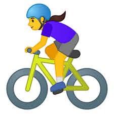 Emoticon woman in bike